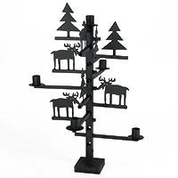 Weihnachtlicher Metall-Tischkerzenleuchter mit Rentieren