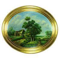 Zauberhaftes Wandbild: Friedvolle Landschaft mit Bäumen und Häusern