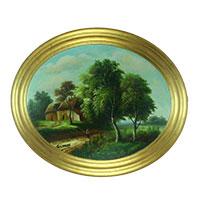 Zauberhaftes Wandbild: Friedvolle Landschaft mit Haus und Bäumen