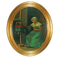 Frau an Wollhaspel – ein hinreißendes Bild mit heimeliger Aura!