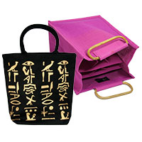 Taschenset: Tasche -Hieroglyphen- & Bottle Bag pink