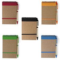 Taschen-Notizblock mit und Kugelschreiber 5 verschiedenen Farben