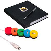 Büroset: Notizblock inkl. Kugelschreiber und 4-fach USB Hub