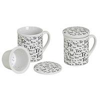 Porzellanbecher mit Deckel und Teesieb