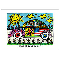 James Rizzi Postkarte -On the road again-