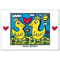 James Rizzi Postkarte -Love birds-