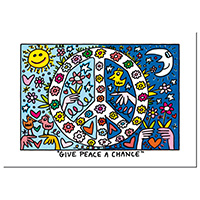 James Rizzi Postkarten -Give peace a change-