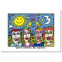 James Rizzi Postkarte -Don´t worry – be happy-