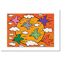 James Rizzi Postkarte -Flocking around-