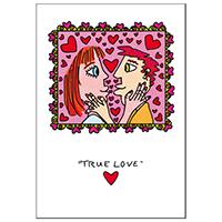 """James Rizzi Doppelkarte mit  Umschlag """"True love"""""""