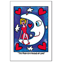 """James Rizzi Doppelkarte mit  Umschlag """"The moon is a friend of love"""""""