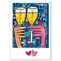 James Rizzi Grußkarte -A toast of Love-