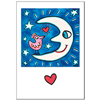 """James Rizzi Doppelkarte mit  Umschlag """"The moon is a love tool"""""""