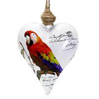 Metallherz mit Papagei