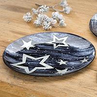 Weihnachtlicher Glasteller mit Stern-Motiv (medium)