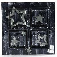 Quadro-Glasschale mit Stern-Motiv (groß)