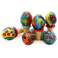 Korken mit handbemalten Keramikeiern