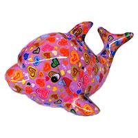 Spardose Delfin - rosa mit Herzen