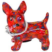 Spardose Hund Boomer - rot mit Herzen