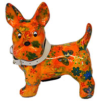 Spardose Hund Boomer - orange mit Schmetterlingen