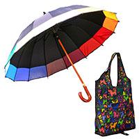 Shoppingbegleiter: Regenschirm und perro negro Falttasche