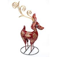 Zauberhafte Metallfigur: Das Rentier des Weihnachtsmanns (rot)