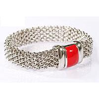 Le BIJOU Armband aus Florentinakette - Korallrote Brosche