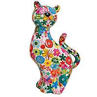 Spardose Katze / Blume weiß