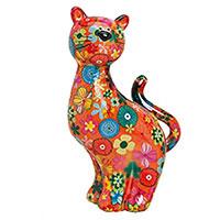 Spardose Katze - Blume orange -