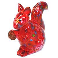 Spardose Eichhörnchen - rot mit Herzen