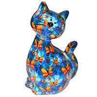 Spardose Katze -Caramel- blau mit Schmetterlingen