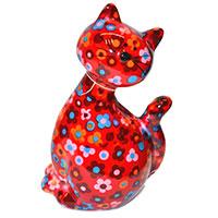 Spardose Katze -Caramel- rot mit Blumen