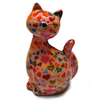 Spardose Katze -Caramel- rosé mit Herzen