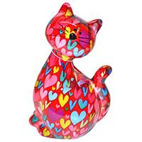 Spardose Katze -Caramel- rot mit Herzen