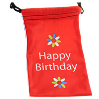 Happy Birthday - Mikrofaser-Beutel  -Flowers rot weiss-
