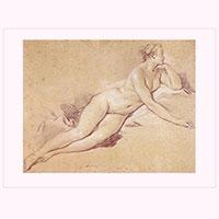 Künstlerpostkarte Boucher -Liegender weiblicher Akt-