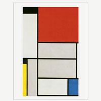 Künstlerpostkarte Mondrian -Tableau I mit Schwarz, Rot, Gelb, Blau und Hellblau-