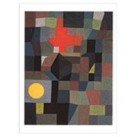 Künstlerpostkarte Klee -Feuer bei Vollmond-