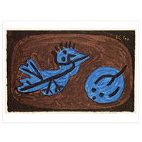 Künstlerpostkarte Klee -Blau-Vogel-Kürbis-