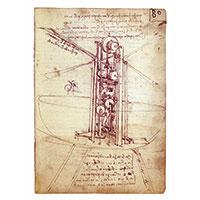 Künstlerpostkarte da Vinci -Senkrechtflugmaschine-