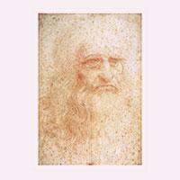 Künstlerpostkarte da Vinci -Selbstportrait-