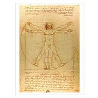 Künstlerpostkarte da Vinci -Der vitruvianische Mensch-