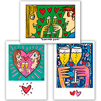3er-Set Postkarten - Love - Design by James Rizzi