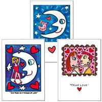 "James Rizzi Doppel-Postkarten-Set ""moon-love"""