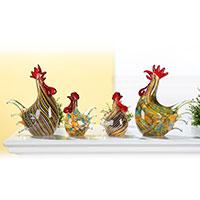 Hahn und Huhn aus mundgeblasenem Glas