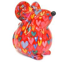 Spardose Maus Ini - rot mit Herzen
