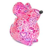Spardose Maus Ini - pink mit Schmetterlingen und Herzen