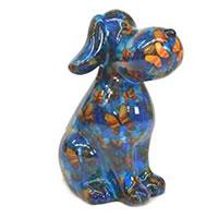Spardose Hund Toby - blau mit Schmetterlingen