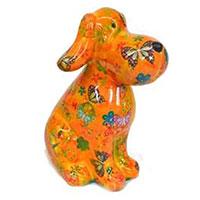 Spardose Hund Toby -  gelb mit Schmetterlingen
