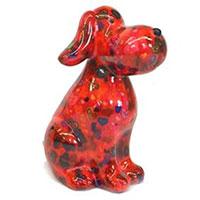 Spardose Hund Toby - rot mit Herzen